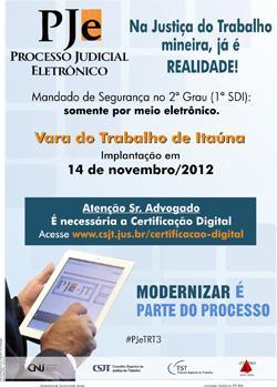 VT de Itaúna é a próxima unidade da Justiça do Trabalho de Minas a receber o PJe (imagem 1)