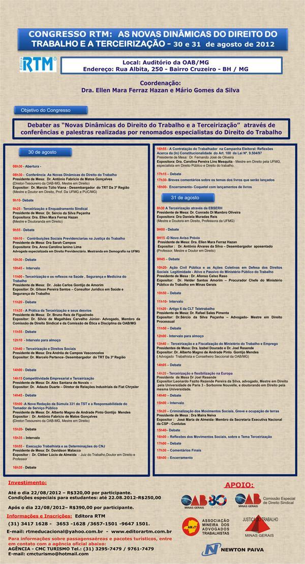 Congresso discute as novas dinâmicas do Direito do Trabalho (imagem 1)