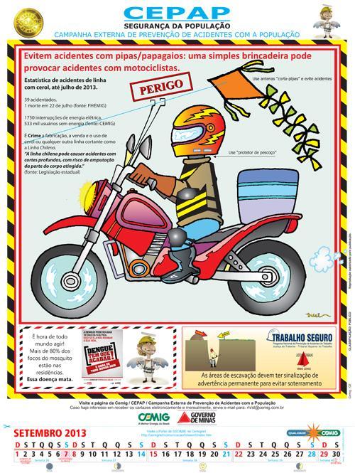 Cartaz-calendário da Cemig traz dica de segurança para trabalhador da construção civil (imagem 1)