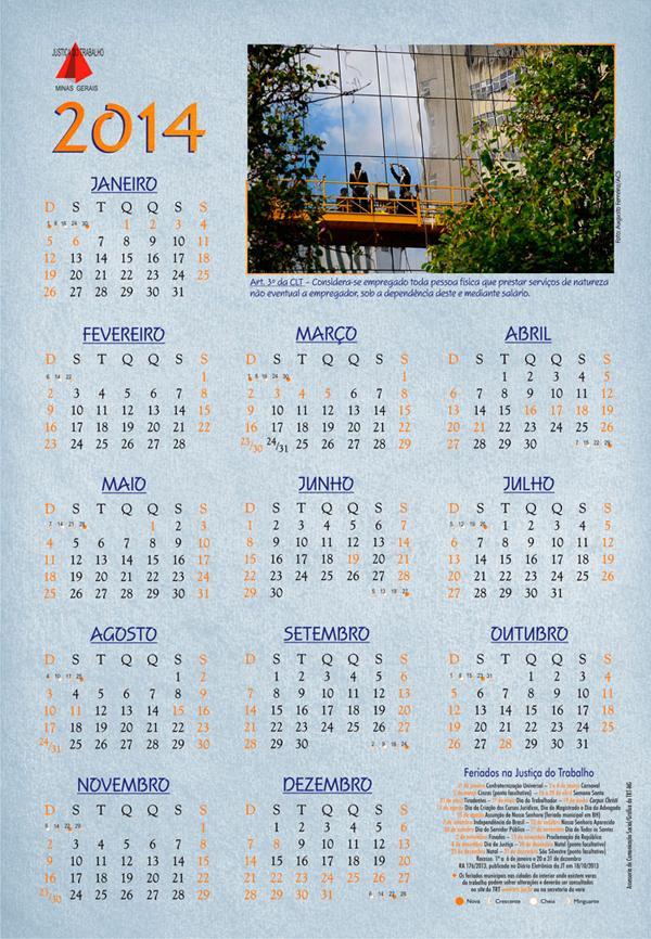 Calendário de feriados de 2014 já está disponível no site do TRT (imagem 1)
