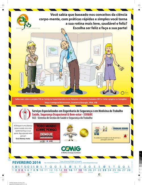 Dica de segurança no trabalho está em calendário da Cemig (imagem 1)