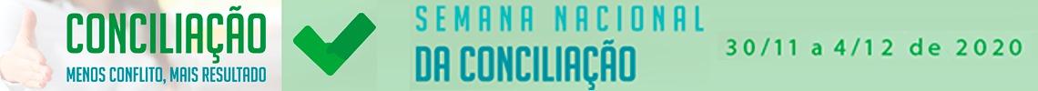 Banner. À esquerda a imagem de uma mão estendida para cumprimentar. Sobre a imagem está a mensagem Conciliação:  menos conflito, mais resultado.  No restante do banner, sobre um fundo verde, está a mensagem: Semana Nacional da Conciliação: 30/11 a 4/12 de 2020.