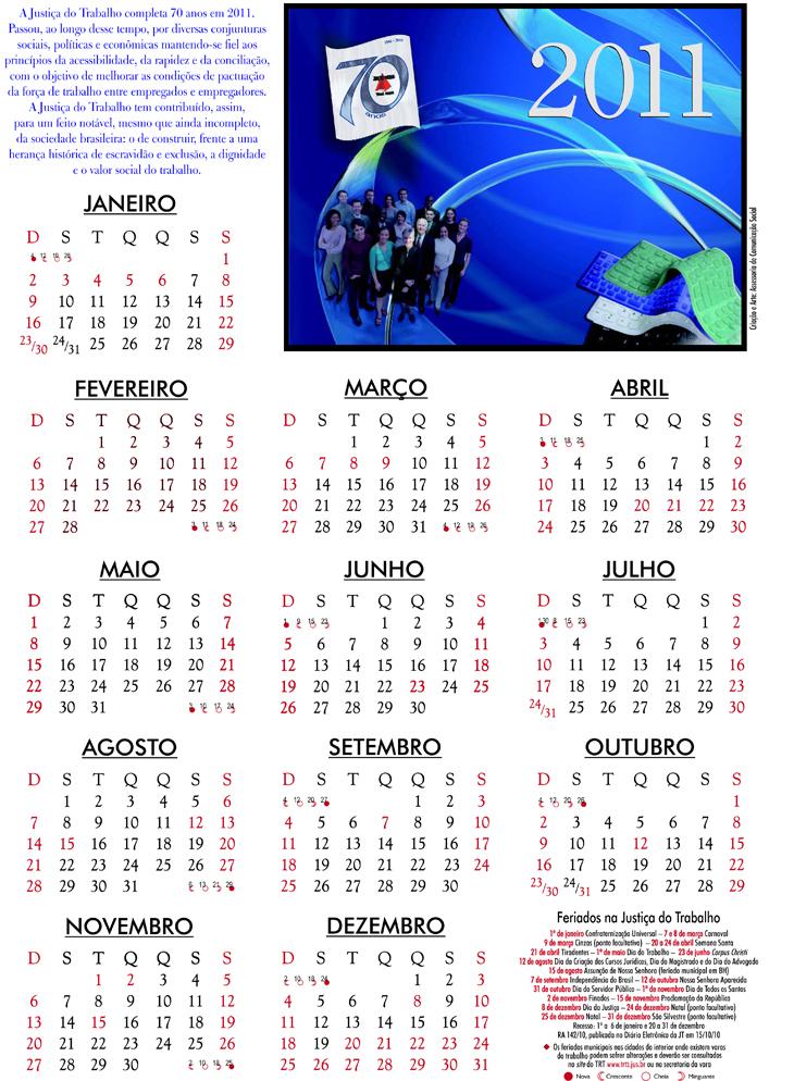 2011 Calendario.Calendario 2011 Trt Mg