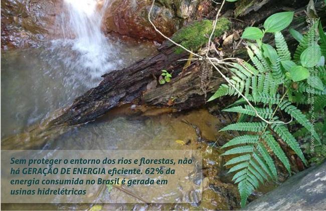 Foto de uma nascente formando um pequeno poço, um troco de árvore mergulhado na água desse poço e algumas plantas em torno dele. Sobre a foto, na parte inferior esquerda, há uma tarja transparente com a seguinte mensagem: Sem proteger o entorno dos rios e florestas, não há GERAÇÃO DE ENERGIA eficiente. 62% da energia consumida no Brasil é gerada em usinas hidrelétricas.
