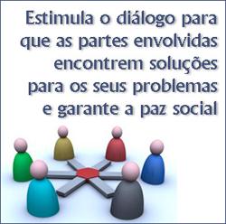 Estimula o diálogo para que as partes envolvidas encontrem soluções para os seus problemas e garante a paz social.