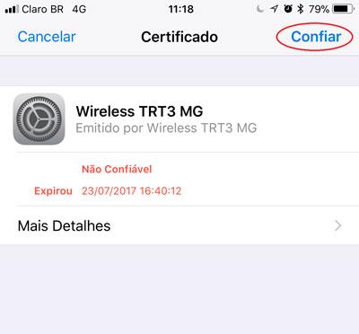 Após confiar no certificado emitido a conexão será estabelecida