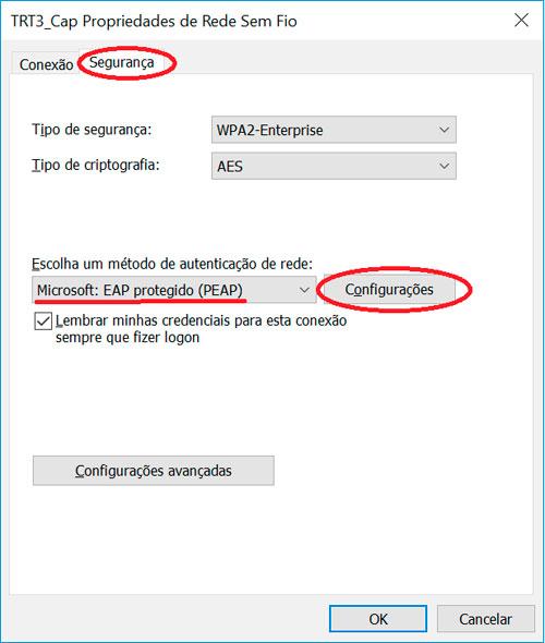 """Na guia """"Segurança"""", clique em """"Configurações"""""""